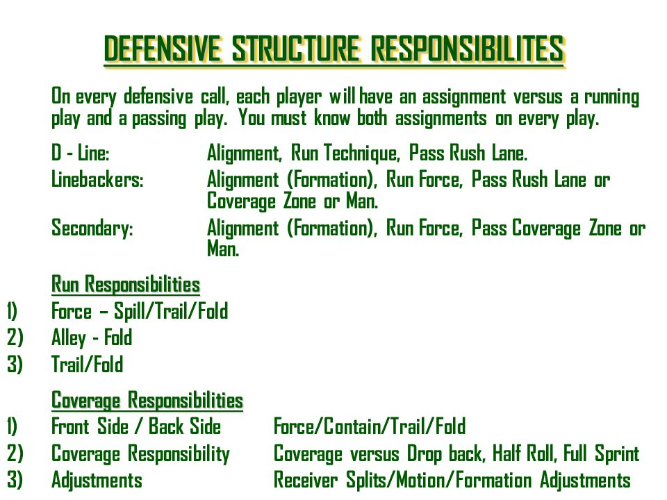 DEFENSIVE STRUCTURE RESPONSIBILITES