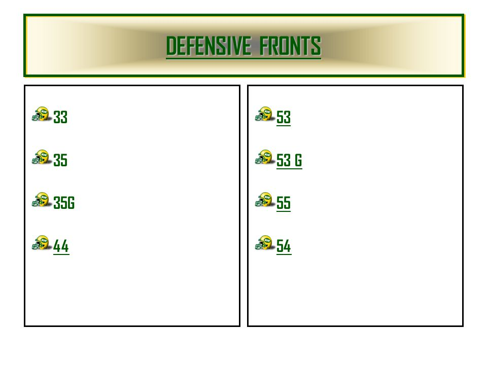 DEFENSIVE FRONTS 33 35 35G 44 53 53 G 55 54