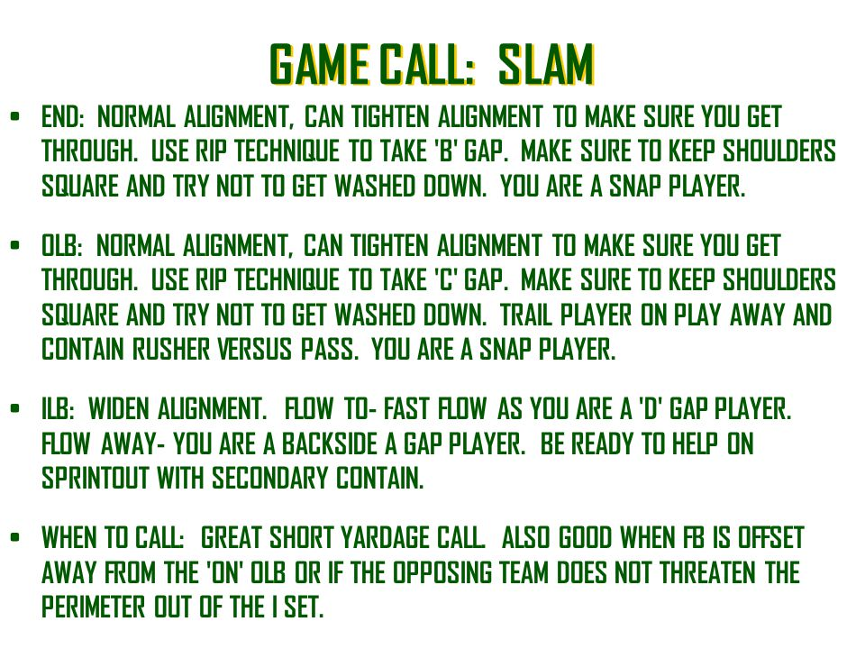 GAME CALL: SLAM