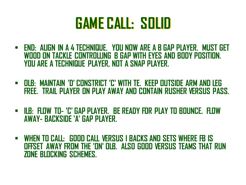 GAME CALL: SOLID