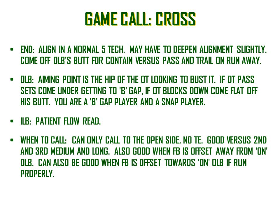 GAME CALL: CROSS
