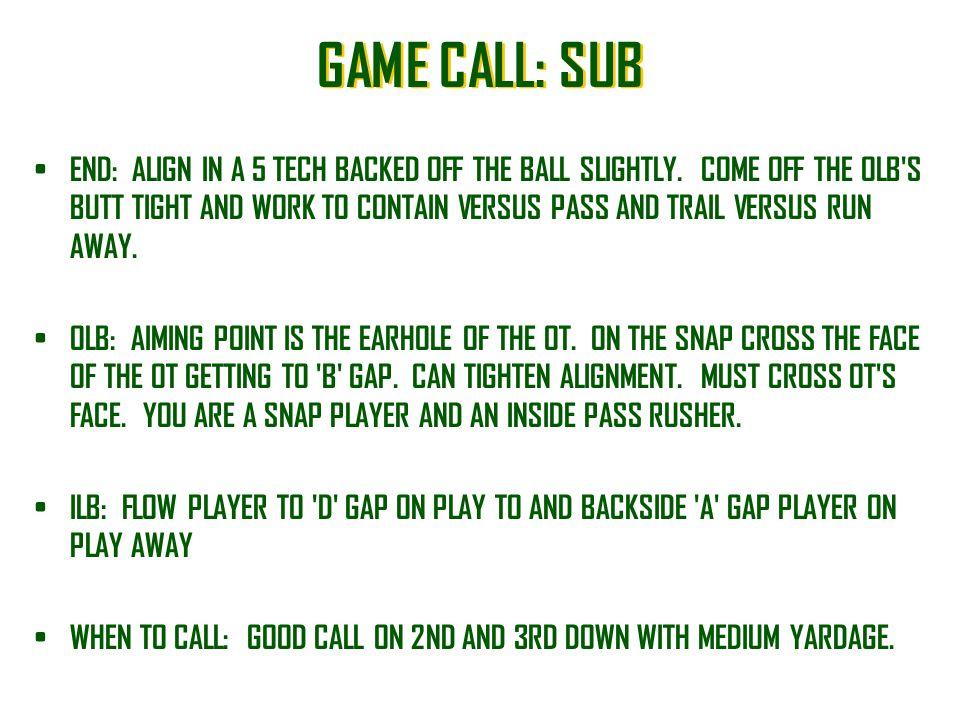 GAME CALL: SUB