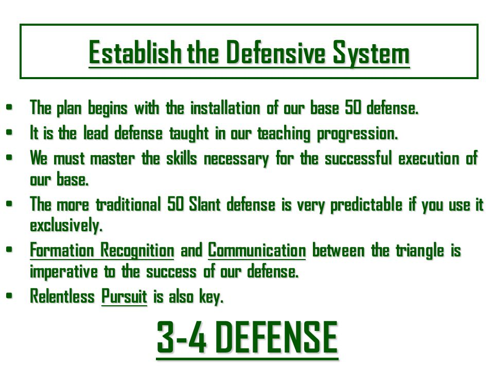 Establish the Defensive System