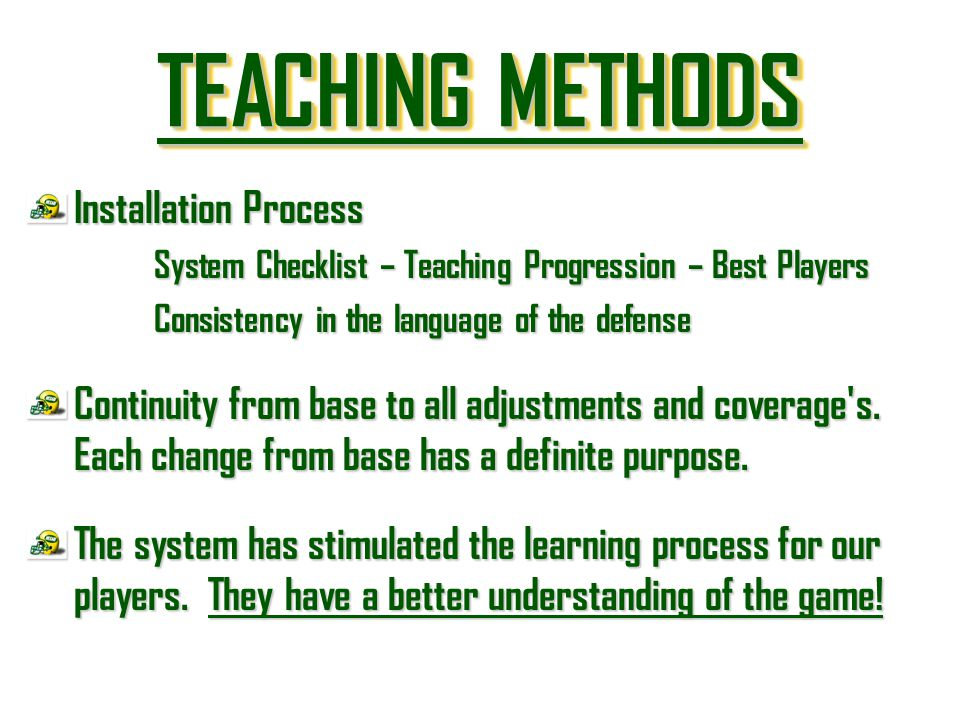 TEACHING METHODS Installation Process