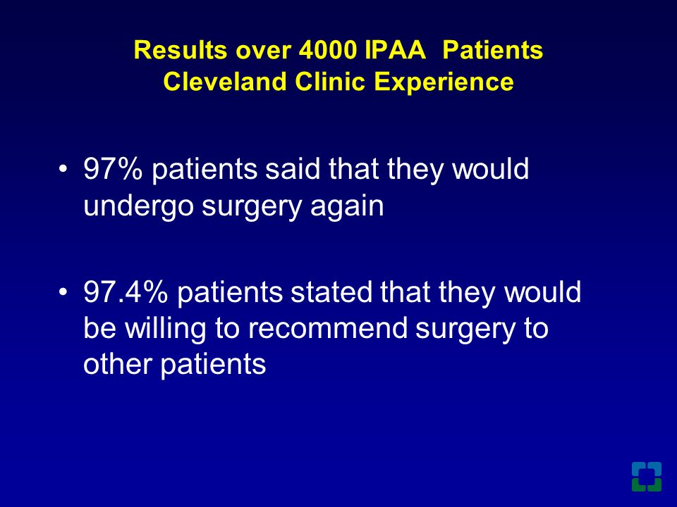 Results over 4000 IPAA Patients Cleveland Clinic Experience