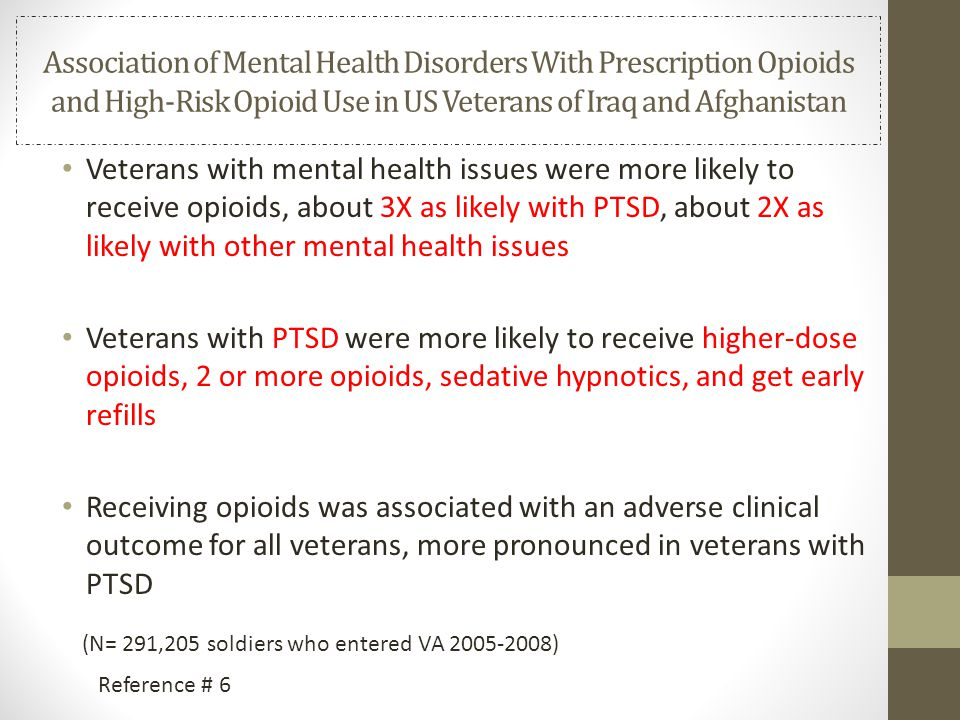Association of Mental Health Disorders With Prescription Opioids and High-Risk Opioid Use in US Veterans of Iraq and Afghanistan