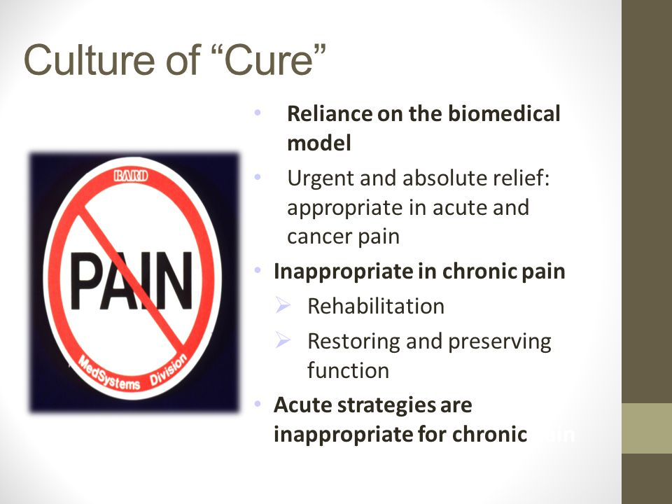 Culture of Cure Reliance on the biomedical model