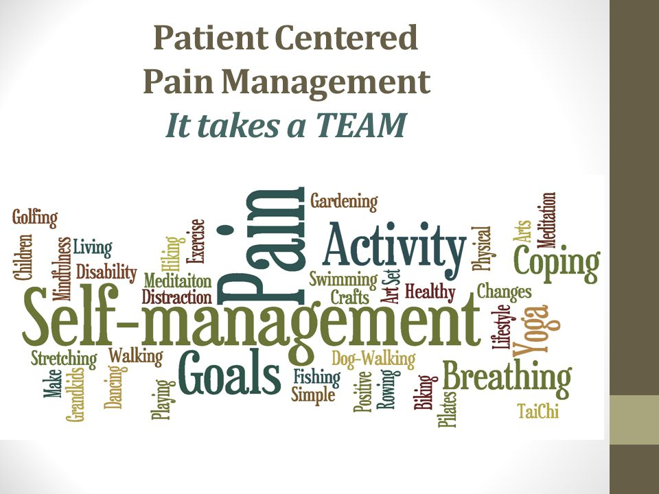 Patient Centered Pain Management It takes a TEAM