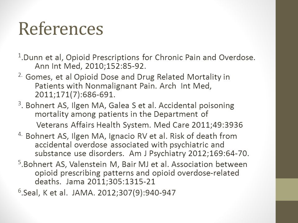 References 1.Dunn et al, Opioid Prescriptions for Chronic Pain and Overdose. Ann Int Med, 2010;152:85-92.