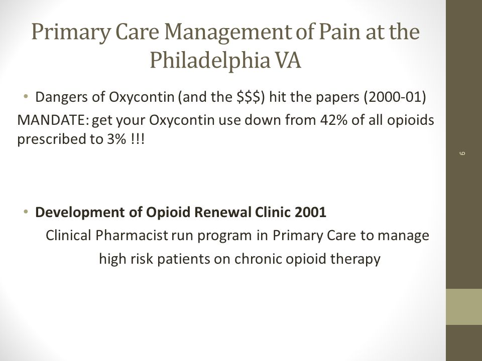 Primary Care Management of Pain at the Philadelphia VA