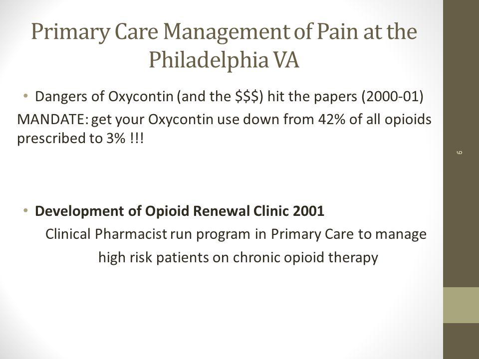 Primary Care Management of Pain at the Philadelphia VA