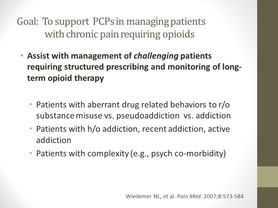 Goal: To support PCPs in managing patients with chronic pain requiring opioids