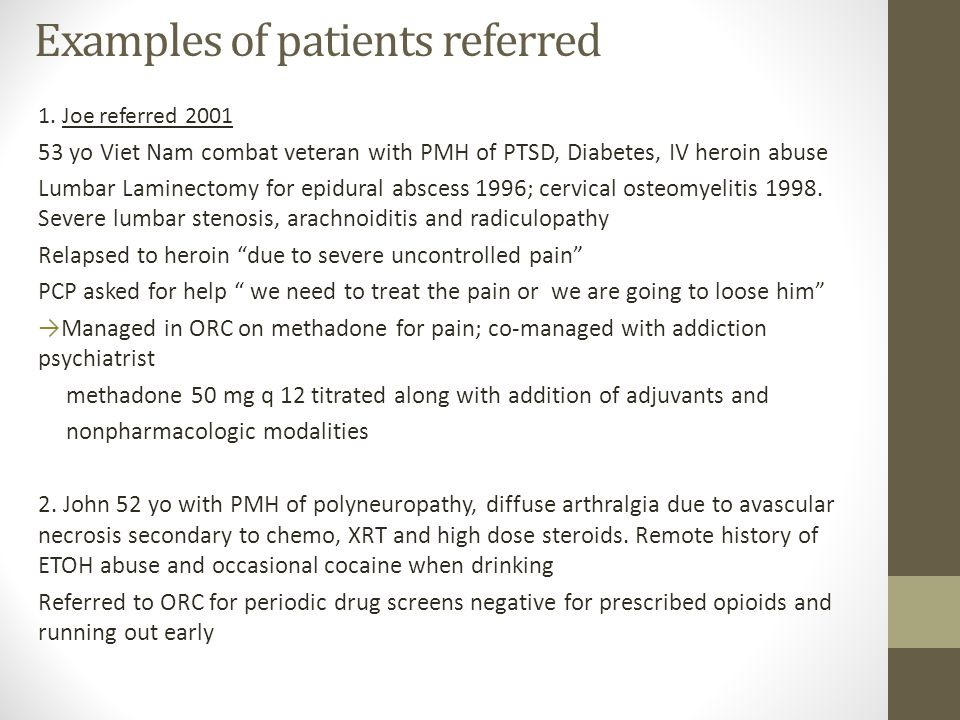Examples of patients referred