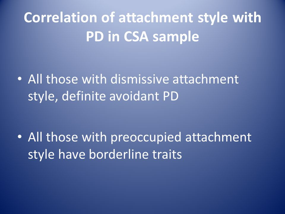 Correlation of attachment style with PD in CSA sample