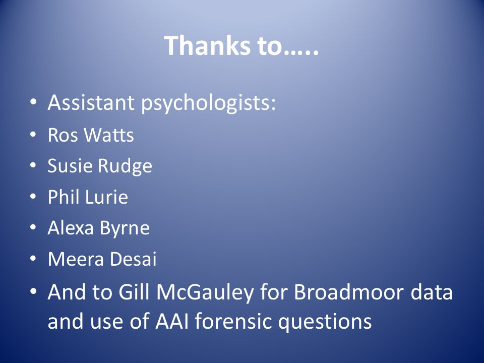 Thanks to….. Assistant psychologists: