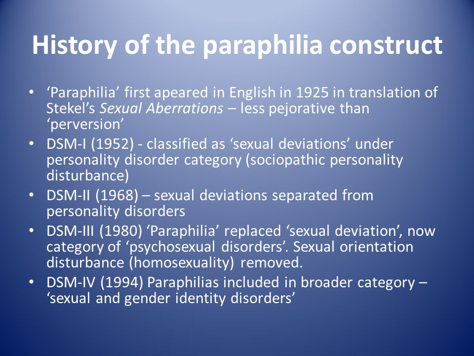 History of the paraphilia construct