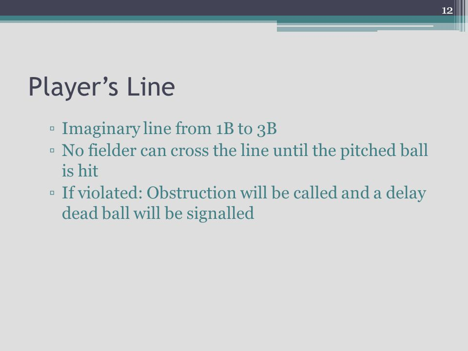 Player's Line Imaginary line from 1B to 3B