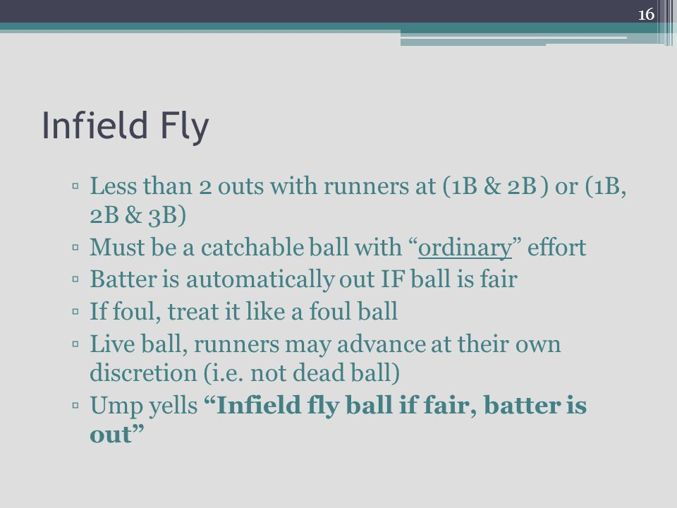 Infield Fly Less than 2 outs with runners at (1B & 2B ) or (1B, 2B & 3B) Must be a catchable ball with ordinary effort.