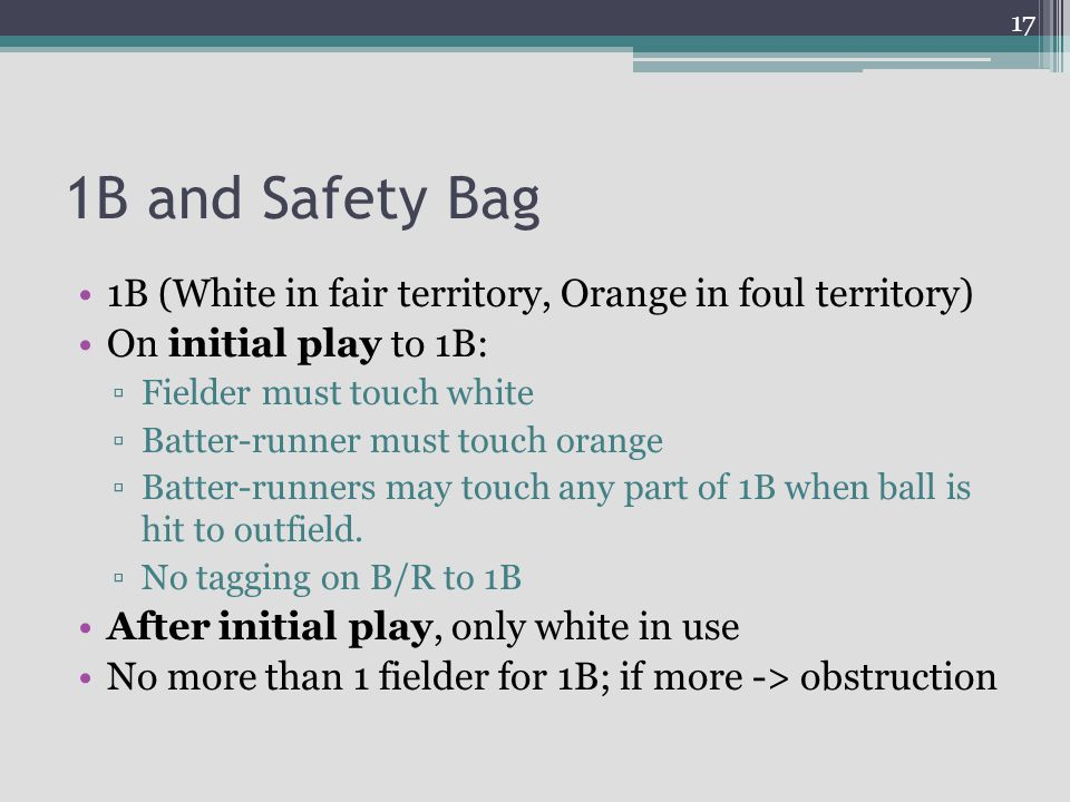 1B and Safety Bag 1B (White in fair territory, Orange in foul territory) On initial play to 1B: Fielder must touch white.
