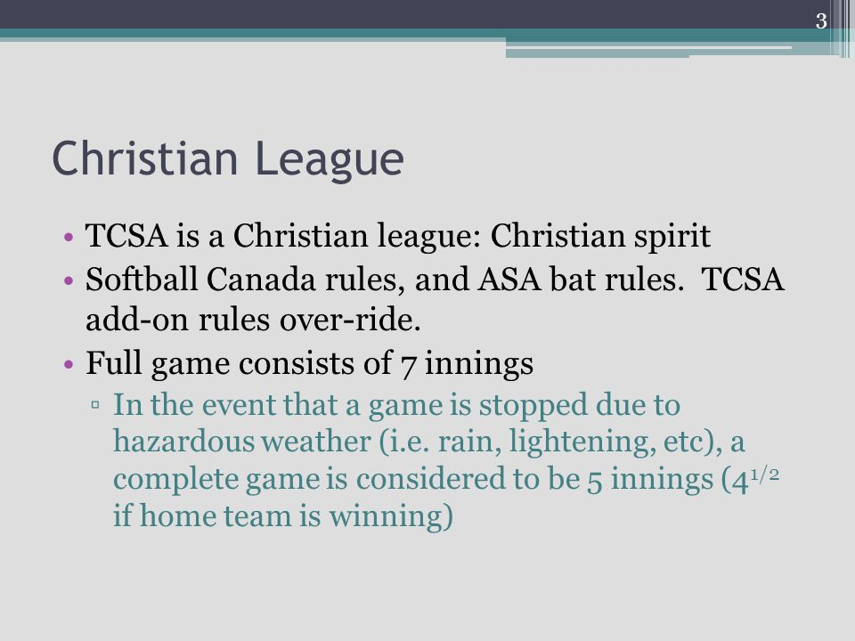 Christian League TCSA is a Christian league: Christian spirit