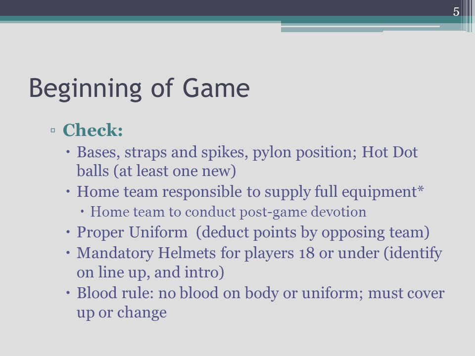 Beginning of Game Check: