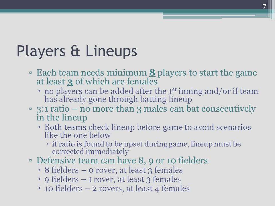 Players & Lineups Each team needs minimum 8 players to start the game at least 3 of which are females.