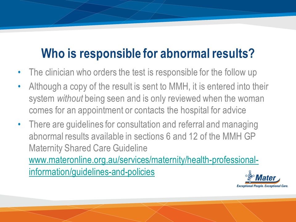 Who is responsible for abnormal results