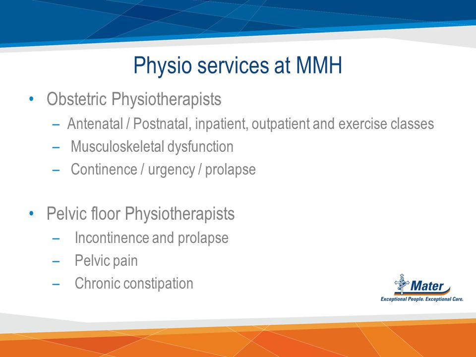 Physio services at MMH Obstetric Physiotherapists