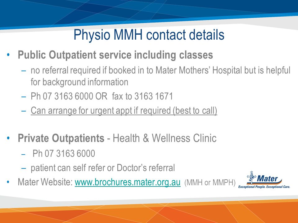 Physio MMH contact details