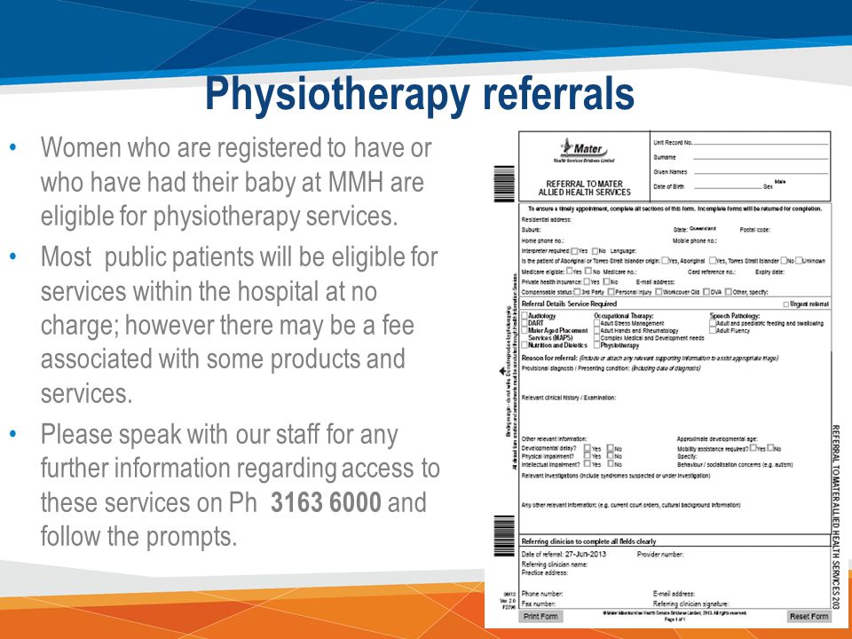 Physiotherapy referrals