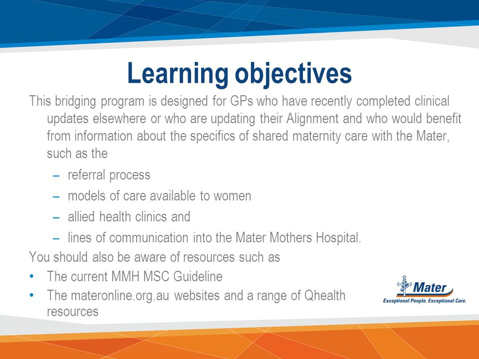 Learning objectives