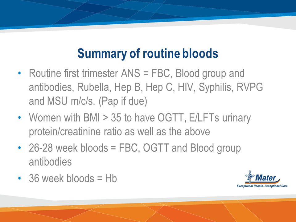 Summary of routine bloods