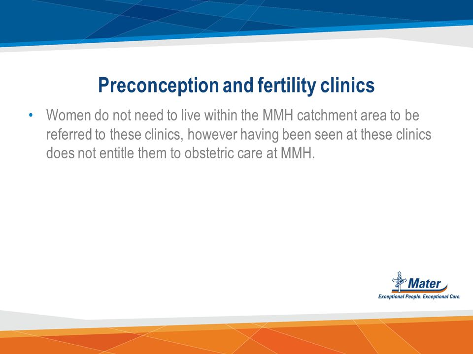 Preconception and fertility clinics