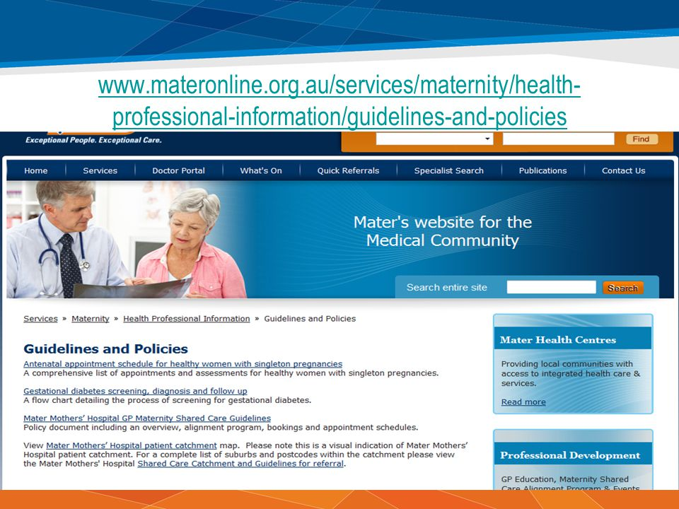 www.materonline.org.au/services/maternity/health-professional-information/guidelines-and-policies