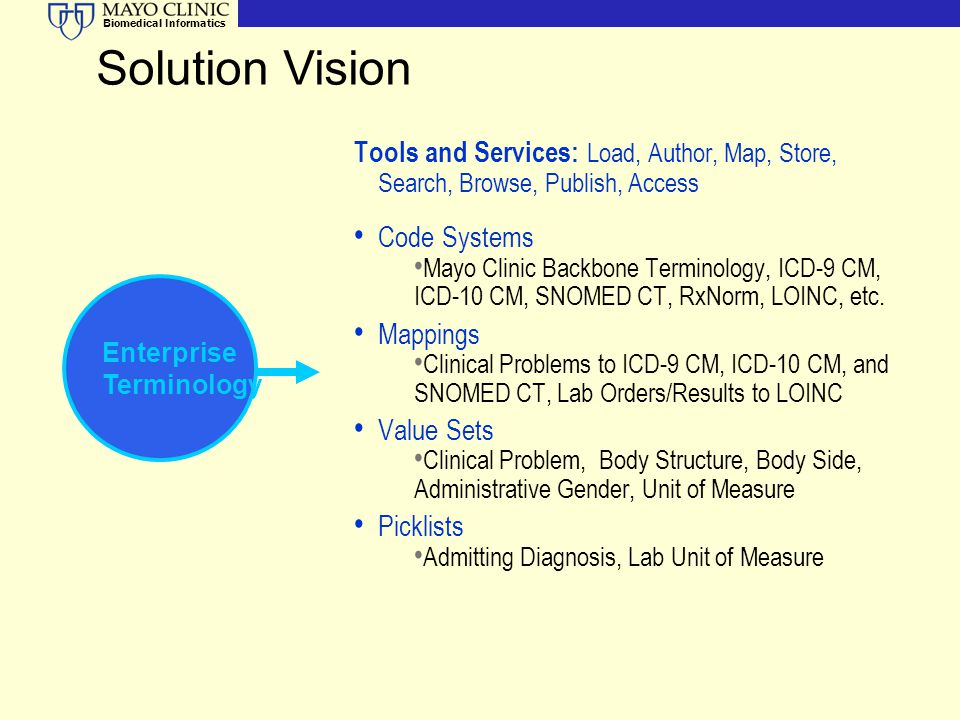 Solution Vision Tools and Services: Load, Author, Map, Store, Search, Browse, Publish, Access. Code Systems.