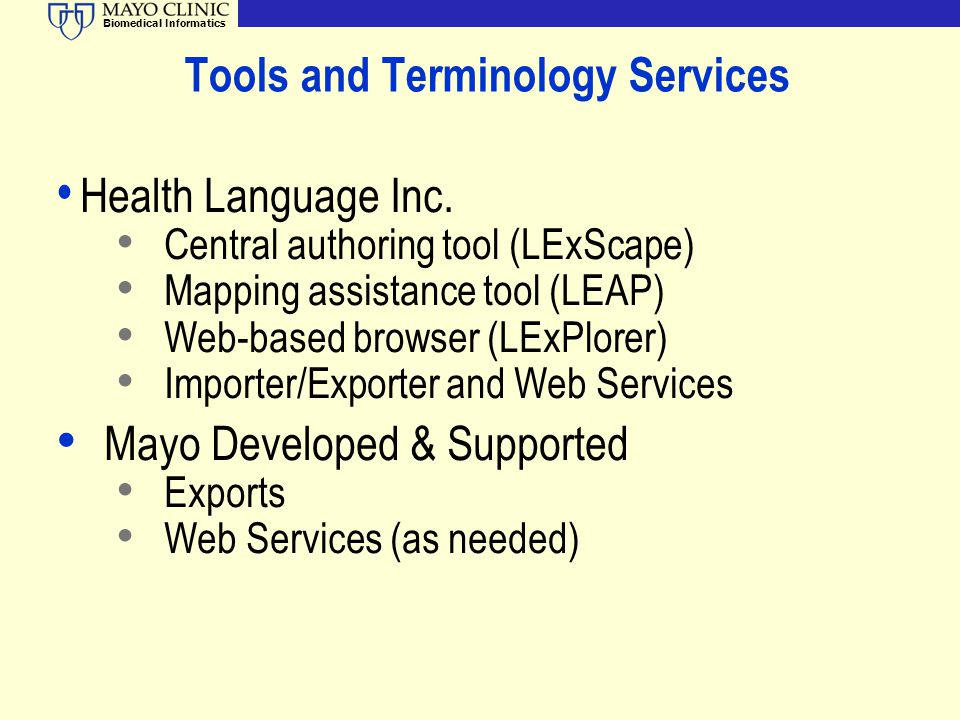 Tools and Terminology Services