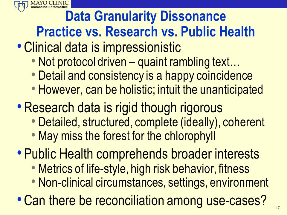 Data Granularity Dissonance Practice vs. Research vs. Public Health
