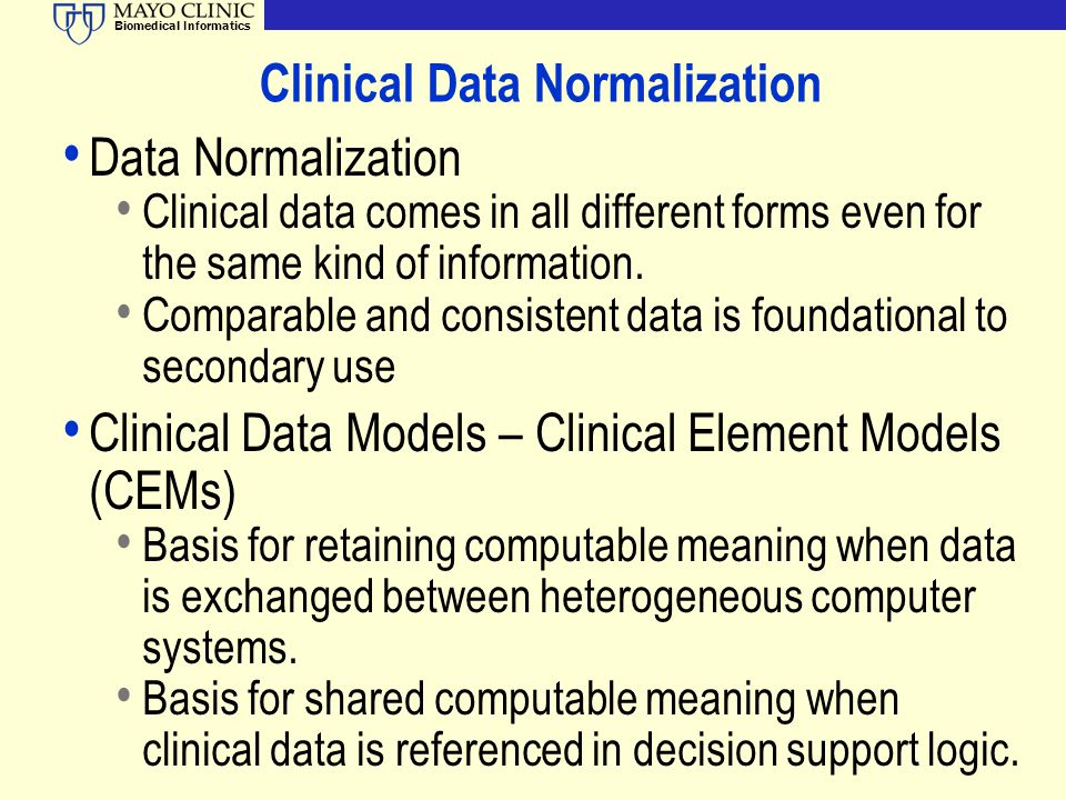 Clinical Data Normalization