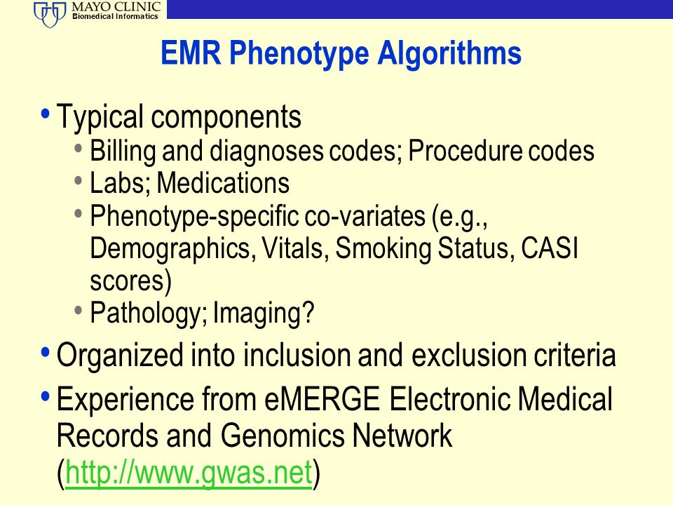 EMR Phenotype Algorithms