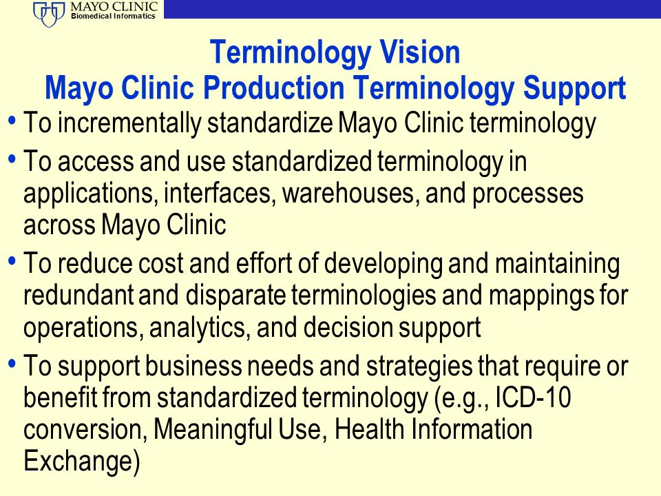 Terminology Vision Mayo Clinic Production Terminology Support