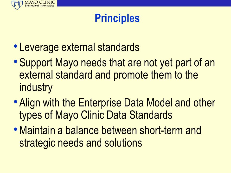 Principles Leverage external standards. Support Mayo needs that are not yet part of an external standard and promote them to the industry.