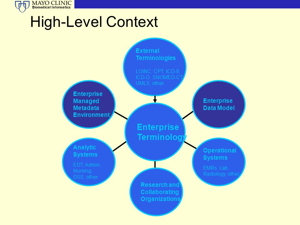 High-Level Context Enterprise Terminology External Terminologies
