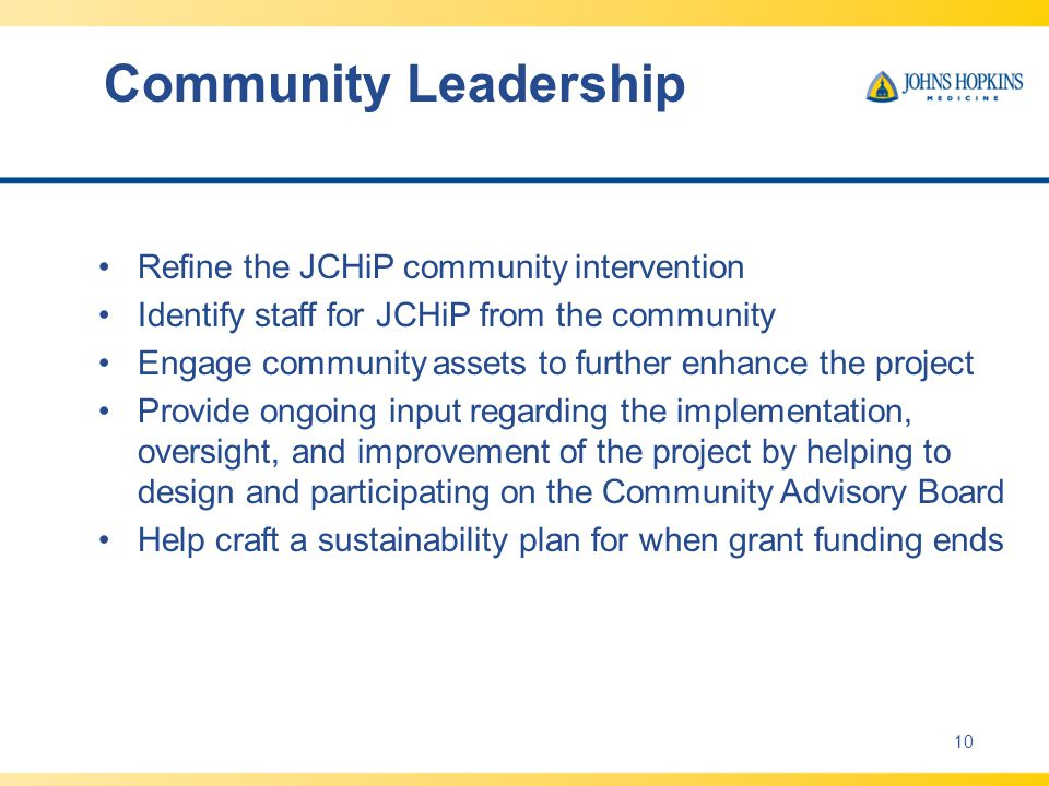 Community Leadership Refine the JCHiP community intervention