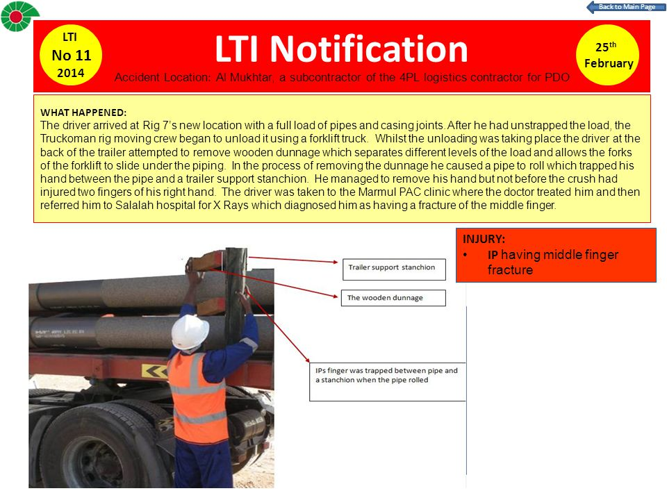 LTI Notification No 11 LTI 25th February 2014 INJURY:
