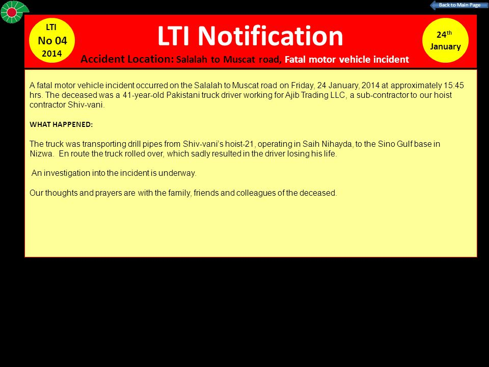 Back to Main Page LTI Notification. LTI. No 04. 2014. 24th. January.