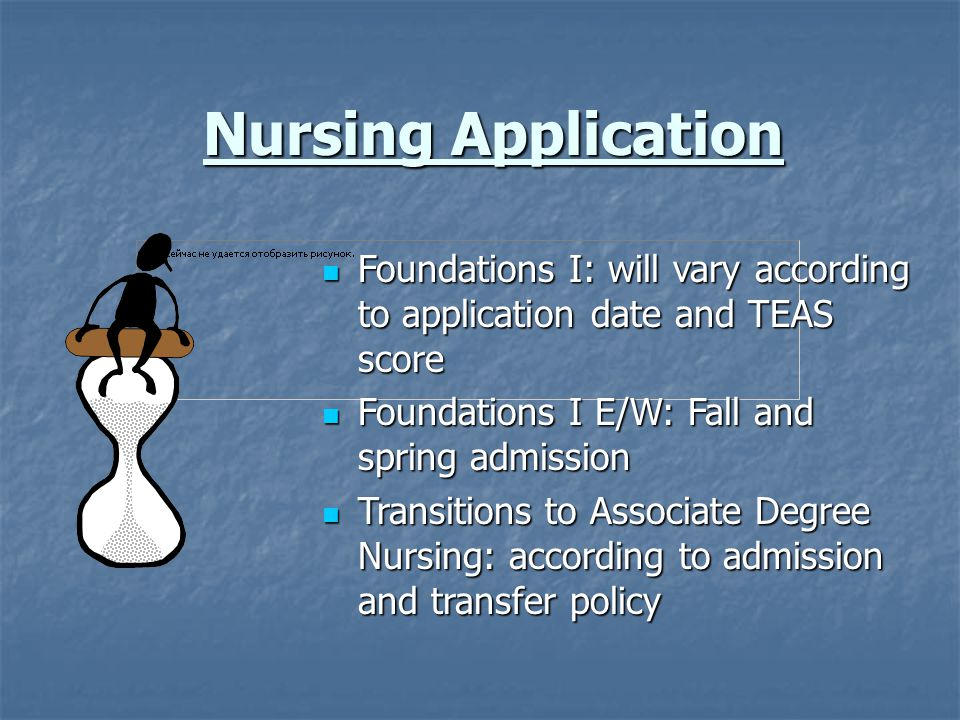 Nursing Application Foundations I: will vary according to application date and TEAS score. Foundations I E/W: Fall and spring admission.