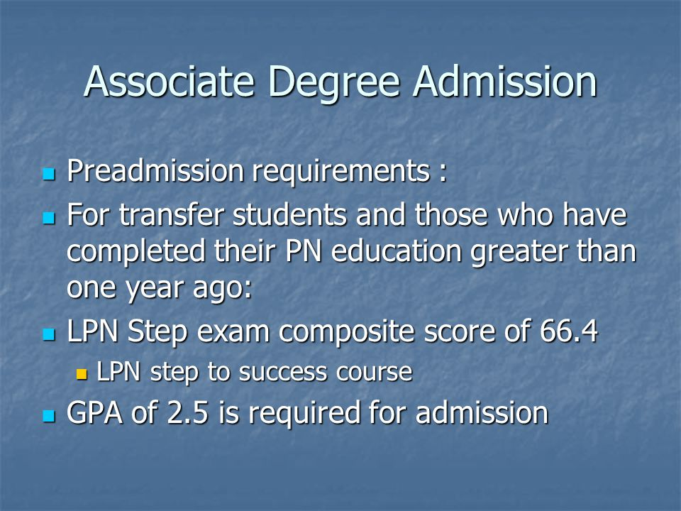 Associate Degree Admission