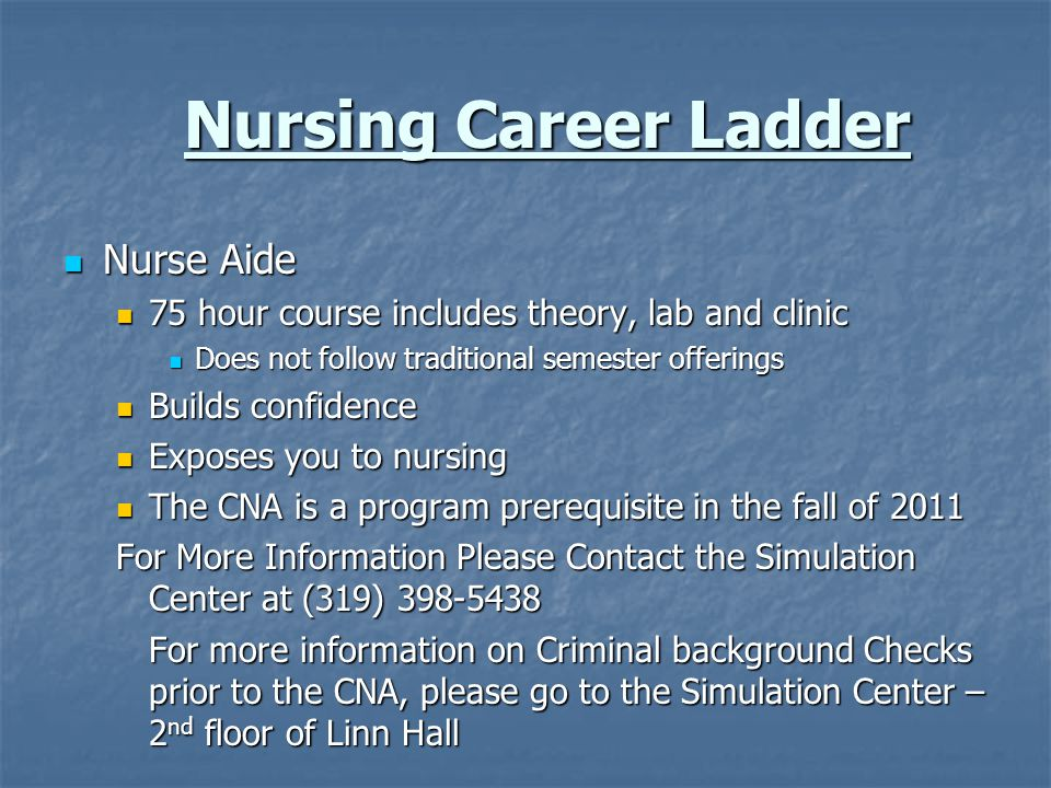 Nursing Career Ladder Nurse Aide