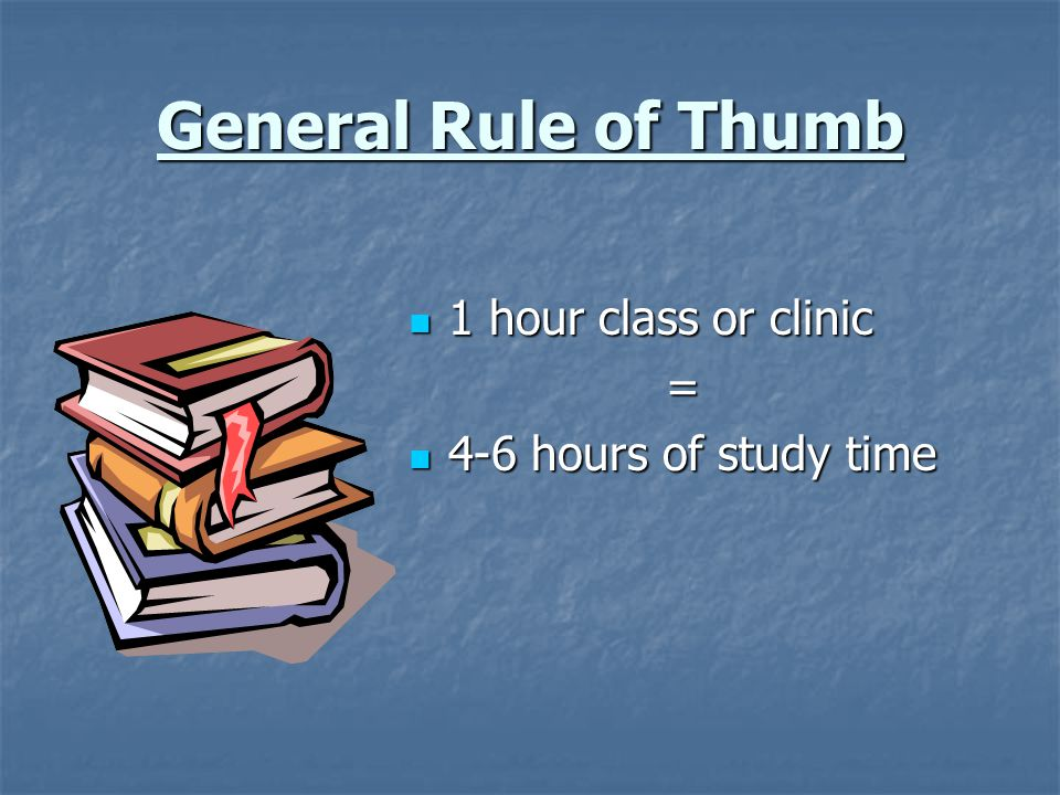 General Rule of Thumb 1 hour class or clinic = 4-6 hours of study time