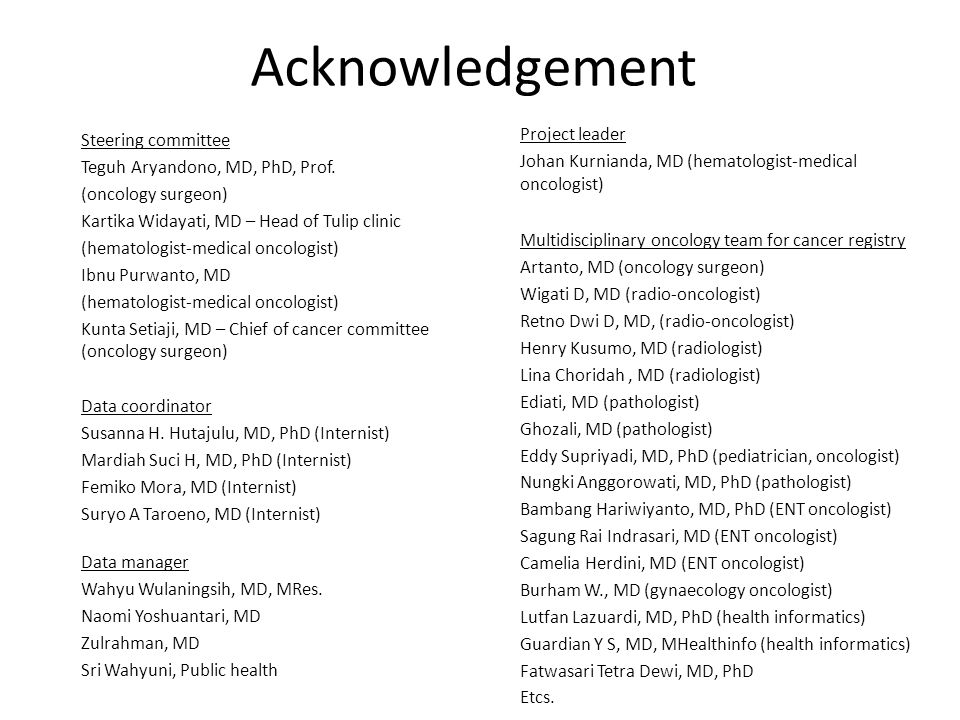 Acknowledgement Project leader Steering committee